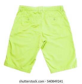 green shorts on white background