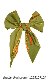 Green silk scarf folded like bowknot isolated on white background. Female accessory.