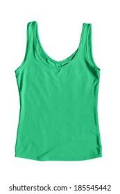 Green silk tank top on white background