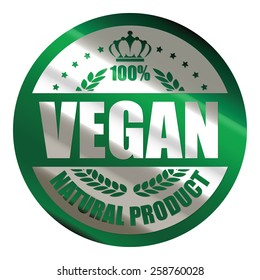 green silver metallic circle 100% vegan natural product sticker, icon, label, sign, banner isolated on white
