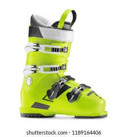 Green Ski Boot Isolated on White Background. Alpine Touring Boot. Tour Carbon Ski Boots. Ski Equipment. Snowboarding Protective Gear. Modern Winter Shoes for Alpine and Cross Country Skiing