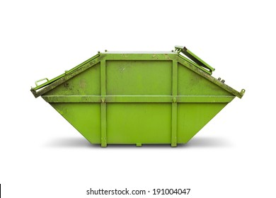 Green skip (dumpster) for municipal waste or industrial waste, isolated on white background with clipping path