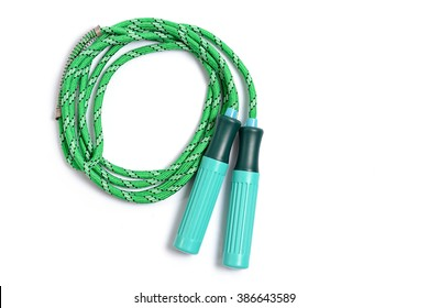Green skipping rope for an exercise, isolated on white background