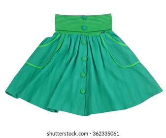 green skirt isolated on white