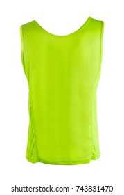 green sleeveless sports top back view isolated