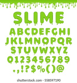 Green slime font. Alphabet with flow drops and goo splash. Latin abc. Liquid toxic, radioactive text in zombie style. Numbers and symbols isolated on white background.
