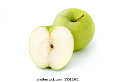 Green Smith apple on white background