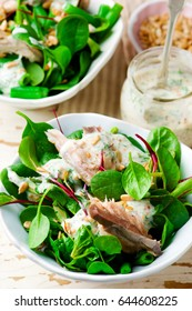 green  smocked mackerel salad. style vintage .selective focus