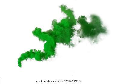 Green smoke bomb isolated on white background