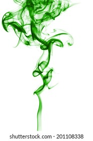 Green smoke isolated on white