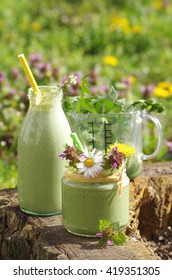green smoothie with edible wild herbs