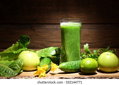 Green smoothies. Green smoothies on a dark background.