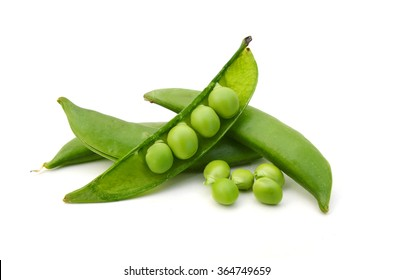 green snap peas isolated on white
