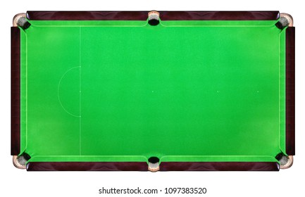 Green snooker table top view