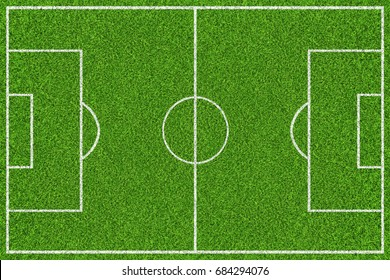 Green soccer field with white lines. Top view background