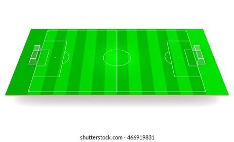 Green soccer football field 3d rendering