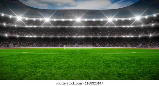Green soccer stadium, illuminated field, arena in night