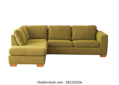 Green sofa (couch) isolated on white
