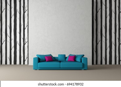 green sofa in front of concrete wall with wallpaper 3d rendering