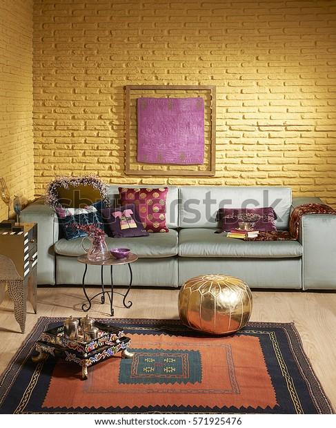Green Sofa Gold Brick Wall Living Stock Photo (Edit Now ...
