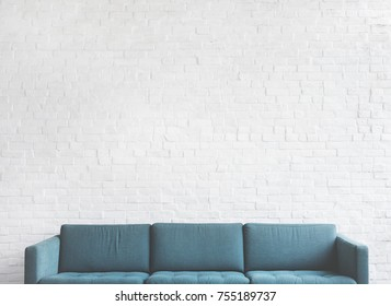 Green sofa in living room
