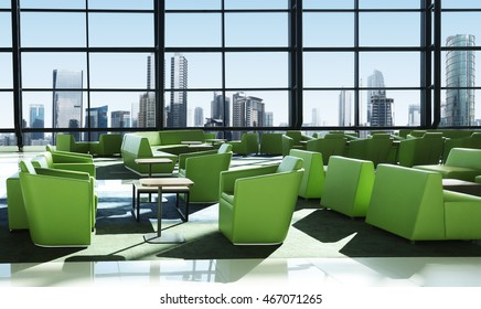 Green sofa in the room, view tower of the town.