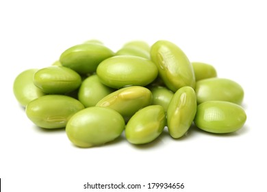 Green soy beans on white background