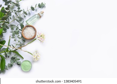 Green spa setting or wellness background with space for text
