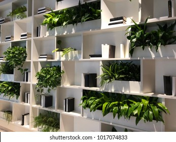 Green Space Plant and Book Wall Shelf System