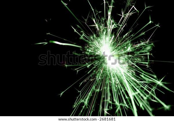 Green sparkler used for celebrations