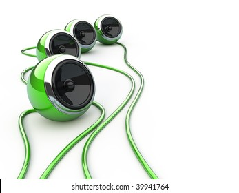 Green speakers isolated over white