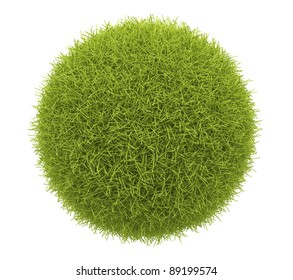 Green sphere of grass 3D. Environment concept. Isolated on white background