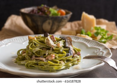 Green Spinach Pasta Tagliatelle with Bacon, Brown Shimeji Mushrooms and Parmesan Cheese