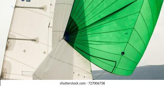 Green spinnaker sail