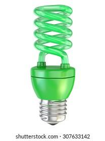 Green spiral light bulb. Isolated on white.