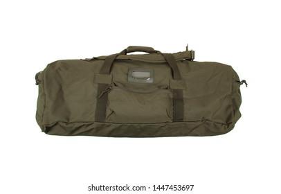 Green sport bag isolated on white background. Travel bag. Military bag, military backpack  isolated on white back.