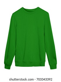 Green sport blank sweatshirt isolated on white