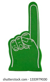A green sports fan foam finger isolated on a white background.