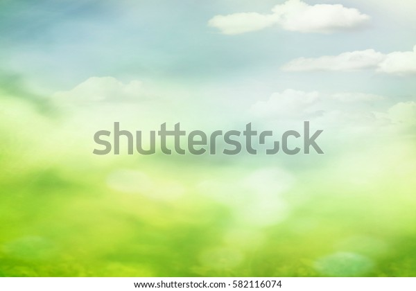 Green spring field and cloudy sunny sky