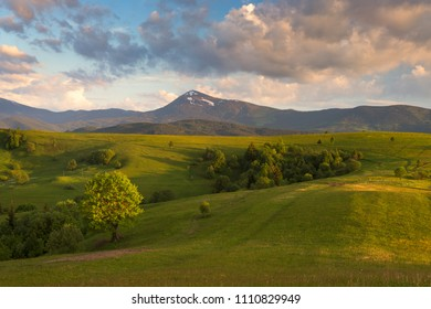 Green spring hills at the foot of the mountain Petros. Carpathians, Ukraine