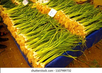 Green spring onions  in central market of Canakkale, Turkey