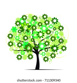 green spring tree on white background