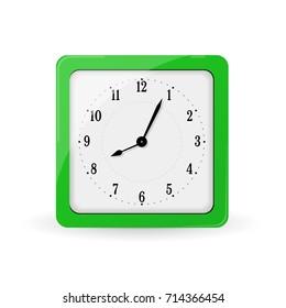 green square alarm clock.  plastic clock isolated on white.. Illustration  table clock