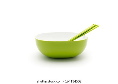 Green square bowl or cup isolated on white