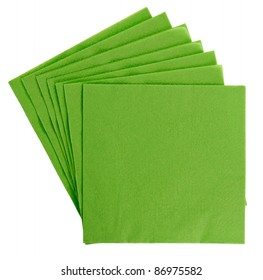 Green square paper serviette (tissue), isolated on white