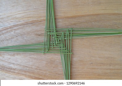 A green St. Brigid's cross, made from rushes, an old Irish tradition, every house used to hang one on the wall in the belief it it ward off any evil.
