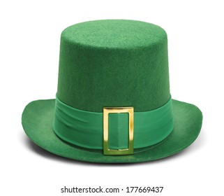Green St. Patrick's Day Felt Top Hat With Gold Buckle Isolated on White Background.