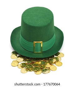 Green St. Patrick's Day Felt Top Hat With Gold Buckle and Gold Coins Isolated on White Background.