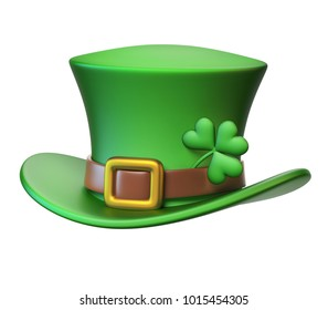Green St. Patrick's Day hat with four-leaf clover isolated on white background 3d rendering