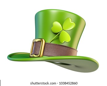Green St. Patrick's Day hat with clover Side view 3D render illustration isolated on white background